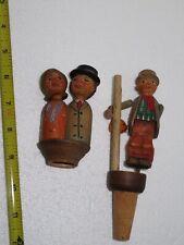 Vintage Anri Wooden Figural Mechanical Cork Bottle Stoppers, lot of 2