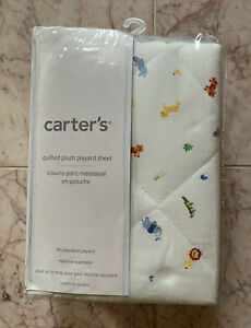 NEW Carter's Quilted Plush Playard Sheet Cover - Safari Animals