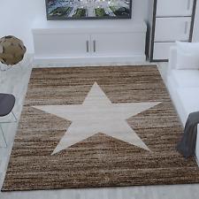 Current Child's Room Rug Star Pattern in Beige Brown - Heatset 160x220 Cm