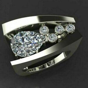 Modernist Engagement Wedding Unique Men's Ring 14K White Gold 2.6Ct Pear Diamond