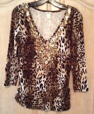 Cach'e 3/4 Slv. Animal Print With Sequent Design V-neck Blouse Size M