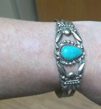 1950s STERLING & TURQUOISE NAVAJO AMERICAN INDIAN-DESIGNED CUFF BRACELET 20.68G