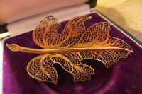 Feine 835 Brosche Silber Jugendstil Art Deco Blatt Antik Filigran Vergoldet
