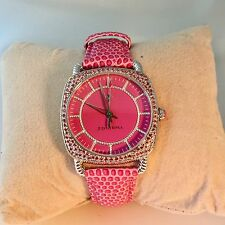 JUDITH RIPKA Steel & Pave Diamonique Pink Stingray Aurora Watch Nearly New