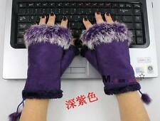 2017 Warm Women's Real Rabbit Fur Hand Wrist Warmer Fingerless Winter Gloves