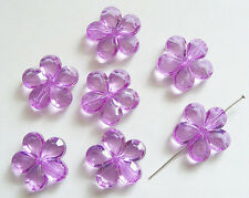 10 Plastic Acrylic Flower Beads - 23mm- Transparent Purple