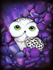 Snowy Owl ~ Purple Violet Amethyst Flowers ~ Original Animal Nature Painting Art