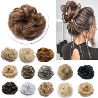 US LARGE Scrunchie Messy Bun Hair Extensions Curly Chignon For Human Hair Piece