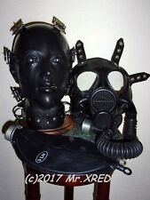 Fetish HEAVY RUBBER Latex 3-n-1 HELMET Gas MASK Rebreather HOOD+Hoses+Bag+Collar