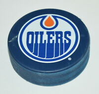 EDMONTON OILERS Basic Team Logo on BLUE COLORED NHL SOUVENIR HOCKEY PUCK
