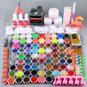 Pro Acrylic Nail Art Manicure Kit Set Powder Liquid Glitter Glue Tips Nail Brush