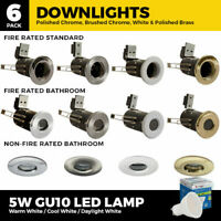 1 or 6 x Bathroom IP65 Downlights/Fire rated/LED GU10 Recessed Ceiling Spotlight