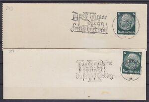 DR Mi Nr. 516 2x mit Werbestempel Der Feind hört mit u. Pflicht 1939 Briefstücke