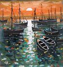 Original painting SEA BOATS gouache design home decor fine art Tania