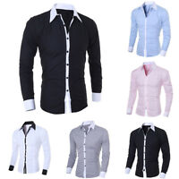 Fashion Men Luxury Long Sleeve T Shirt Casual Slim Fit Dress Shirts Formal Tops