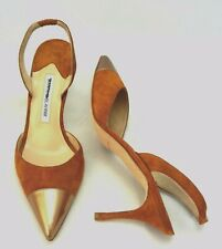 MANOLO BLAHNIK Carolyne Gold Tone Cap Toe Slingback High Heel Pump sz 9.5 New