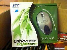 BTC m893 4d Office ERGO MOUSE USB/ps2, Cavo Mouse, 800 DPI, 6 pulsanti, Argento
