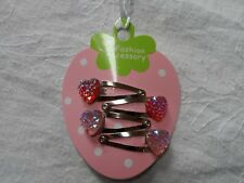 mini hair clips,girls hair slides snap clips pink sparkle hearts baby hair