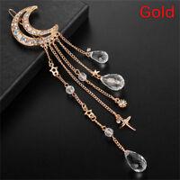 Women Moon Rhinestone Crystal Beads Dangle Hairpin Hair Clip Bridal Jewelry New