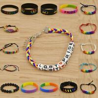 Fashion Gay Lesbian LGBT Pride Bracelet Charm Rainbow Bangle Jewelry Wristband