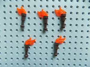 5 Brown handle Lego Minifig Fire Torch Weapon Tool w/Trans Flame Pirate/Kingdoms