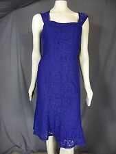 Adrianna Papell Dress sleeveless Cocktail Sheath Solid Blue size 8