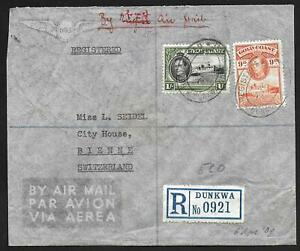 Goldcoast covers 1939 R-Airmailcover DUNKWA to Bienne