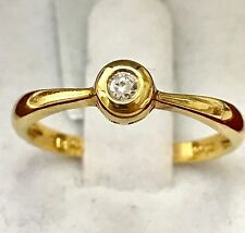 18k Solid yellow gold Natural diamond solitaire band ring Bezel 0.08 ct Made USA