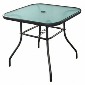 32in Outdoor Table Patio Table with Umbrella Hole Patio Dining Table Outdoor ...