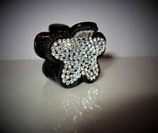 Small mini black sparkle flower hair claw clip with  crystals