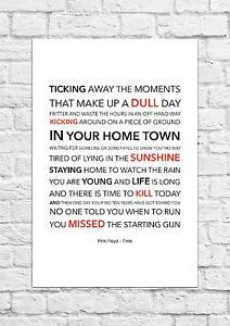 Pink Floyd - Time - Song Lyric Art Poster - A4 Size