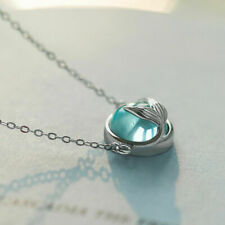 Mermaid Tail Necklace Blue Stone Bubble Crystal Dolphin Whale Fish Tale Jewelry