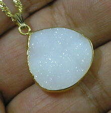Vermeil, 14K GF, GP White DRUZY Quartz Agate TEARDROP Pendant NECKLACE 16-19""