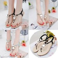 DIY Women Fashion Thong Sandal Boho Owl Beads Girls Beach Flat Foothold Shoes