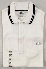 Lacoste Men's Polo Shirt Slim Fit White Black Stripe Collar EU 5 US L