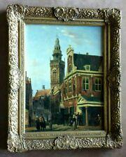 A Beautiful Antique Dutch Amsterdam 19 century Scenery Oil Painting 41 x 51 cm