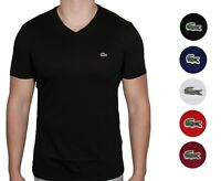 Lacoste Men's Premium Pima Cotton T Shirt V-Neck Short Sleeve Sz S - 4XL NWT