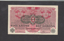 1 Krone Ef Overprinted Provisional Banknote From Austria 1919 Pick-49