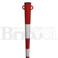 Paletto Segnaletica Stradale parapedonale Acciaio rosso bianco H120cm Ø48/60 mm
