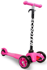 Kids Scooter Deluxe 3 Wheel Glider with Kick n Go Lean 2 Turn - Pink/Black