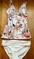 Ex Marks and Spencer Tankini Bikini Size 14 Floral White