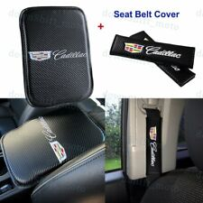 Carbon Fiber Center Armrest Cushion Pad Cover + Seat Belt Cover Set For CADILLAC