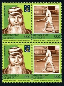 W. G. Grace cricketer mnh block of stamps