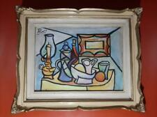 Pablo Picasso still life gouache on old cardboard hand painted and signed