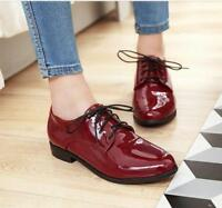 Ladies Lace Up Patent Leather Flat Heels Shoes Oxford Driving Shoes New Girls SZ