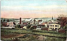 1910s Postcard Laconia NH Birdseye View Smoke Stacks Factory Unused Antique