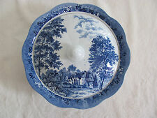 J & G Meakin-Romantic England Blue- Stokesay Castle- Covered Serving Bowl
