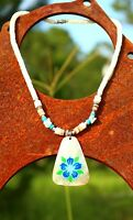Painted blue flower mother of pearl shell heishi    NECKLACE
