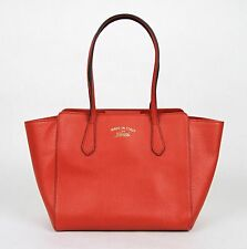 New Gucci Red Leather Small Swing Tote Handbag w/Trademark 354408 6516