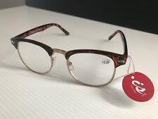 New In Case Retro Readers Classic Reading Glasses Tortoiseshell Frame +2.00 Lens